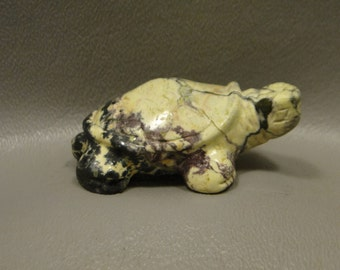 Turtle Carving Green Serpentine Small Carved Animal Healing Stone Fetish Gemstone #e5