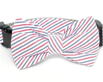Americana Seersucker fabric bow tie ONLY for dog/cat collars, patriotic, ole miss, pet bow tie, collar bow tie, wedding bow tie, flag