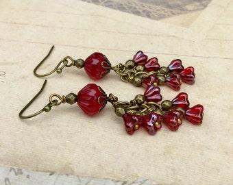 Red Earrings, Ruby Earrings, Flower Earrings, Red Flower Earrings, Red Chandelier Earrings, Czech Glass Beads,Womens Earrings, Long Earrings