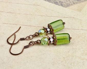 Green Earrings, Olive Green Earrings, Copper Earrings, Czech Glass Beads, Unique Earrings, Copper Jewelry, Gifts for Her, Womens Earrings