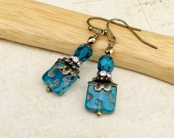 Blue Earrings, Aqua Earrings, Teal Earrings, Bronze Earrings, Czech Glass Beads, Victorian Earrings, Womens Earrings, Unique Earrings, Gifts