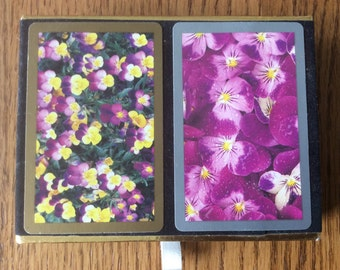 Boxed Set Pansy Playing Cards Congress Playing Cards Purple & Yellow Pansies