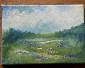Landscape Painting, Wildflowers, Mini Canvas Painting, Impressionist Painting, Summer Home Decor, Landscape Art, Flower Painting