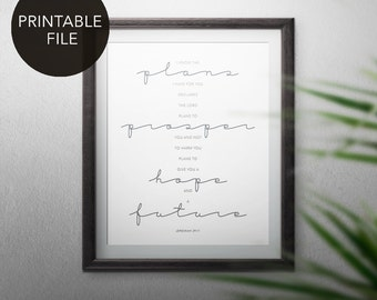 Printable Art -- Jeremiah 29:11 // Inspirational Wall Art // Bible Verse Art // I Know the Plans I Have for You // Scripture Wall Art