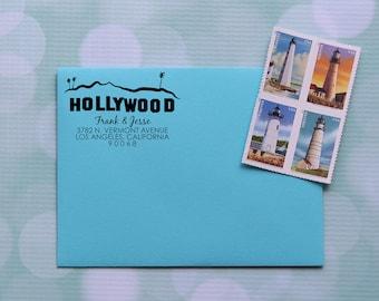 Hollywood Address Stamp, Los Angeles Stamp, LA Address Stamp, Self Inking Address Stamp, Family Address Stamp, 0037