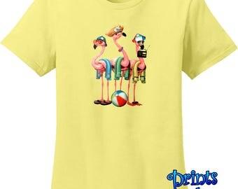 Flamingo Shirt/Funny Tropical Flamingos Women's T-Shirt/Cool Beach Bums Tropical Pink Flock Flamingos T-Shirt/Beach Bum Birds Resort Gift