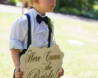 Gold wedding sign,Wedding sign,Here comes your Bride Sign, Photo Prop,Ring bearer sign, Flower girl,Wedding decor