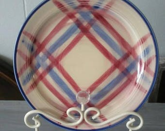 Calico Plate, Vernonware Plate, Red White and Blue, Ceramic Plate, Pottery Plate, Gift Vintage Dinner Plate, Hand Painted Plate, Plaid Plate