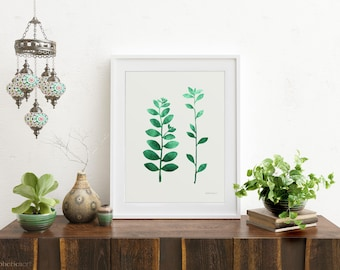 Leaf Branches Simple Art For Home Decor Simple Print Plant Decor Botanical Wall