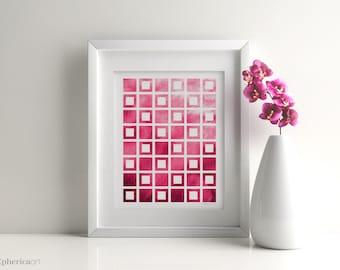 Hot pink art, Hot pink decor, Geometric pink Home office, Hot pink wall art, Pink office art, Hot pink prints, Pink dorm room, Coworker gift