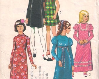 Simplicity 5337 Sewing pattern, child's and girls' dress pattern, size 8 dressmaking pattern, 70s seventies 1970s, retro vintage pattern