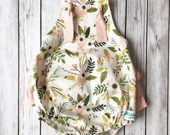 Blush Sprigs and Blooms Ruffle Romper , Blush Romper , Pink Floral Romper , Pink and White Romper , Pink Baby Romper , Pink Birthday Romper
