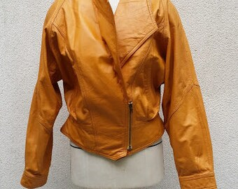 Reserved 80's Sunny Yellow Leather jacket .. Perfecto style,  shoulders pads, oversized, double zip. Biker leather jacket, rock & roll ...