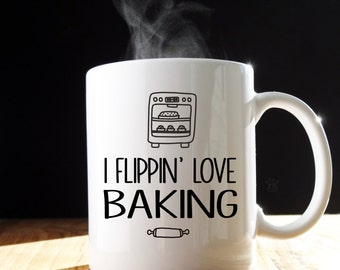 I Flippin' Love Baking Mug/Tea Mug/Coffee Cup/Baking/Cooking Mug/Baking Gift/Personalised Mug/Mug for her/Cooking Gift