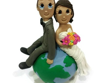 Custom Wedding Cake Topper with Globe, On Top of the World