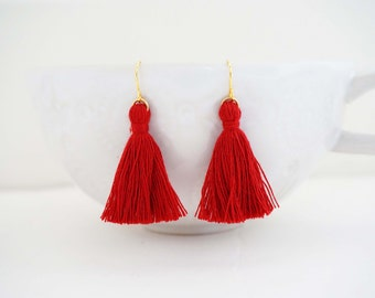 Dark Red and Gold Tassel Earrings