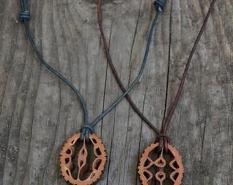 Woodland necklace, men's necklace, guy necklace, wooden pendant, wood slice necklace, black walnut necklace, wooden necklace, wood leather