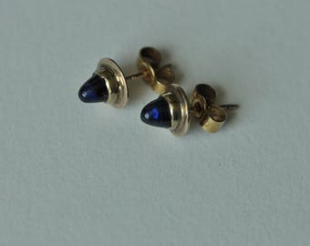 A Pair of Sugarloaf Sapphire Earrings