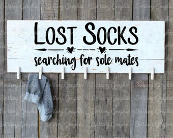 Lost Socks Searching for Sole Mates | Cutting File | Printable | svg | eps | dxf | png | Home Decor | HTV | Humor | Laundry Room | Socks
