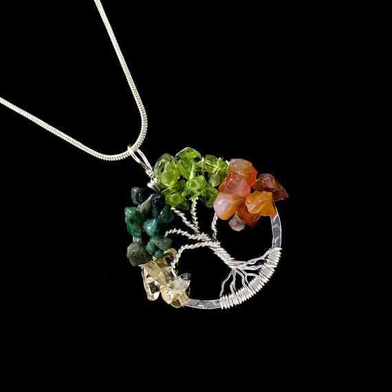 Tree of life necklace pendant gemstone tree of life silver for What is the meaning of the tree of life jewelry