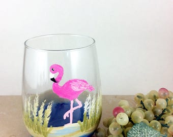 Flamingo Gifts, Best Wine Gifts, Stemless Wine glass, pink flamingo, Gift for her, Drinking Glasses, Wine lover gift, flamingo Decor, Gifts