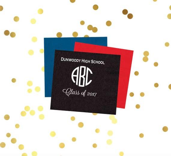 Graduation napkins, monogrammed napkins, circle monogram, class of 2016, high school graduation party, party favor, party decor, graduation