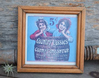 Country Lassies, New Orleans Art, Corn Syrup, Cane Syrup, Advertising, Shreveport Louisiana, Framed Art, Americana, Country Decor