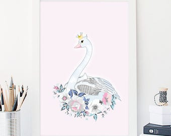 Swan Princess Nursery Wall Art Nursery Print Baby Girl Nursery Wall Art Kids Room Print Nursery Poster Woodland Print Nursery Art Girls Room