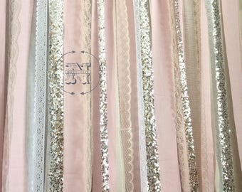 Blush Backdrop Silver Sequin Curtains Fabric Rag Garland Nursery Ribbon  Pink Gray White Ivory Photo Prop