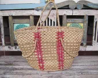 Vintage Cane and Pink Basket - Beach - Shopping - Picnic - Storage