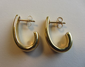 14k Gold Half Hoop Earrings - 1.82g