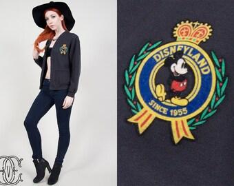 botón de negro de 1980 Vintage años 80 suéter de vintage por vintage suéter mickey mouse disney chaqueta