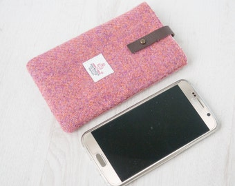 Smart Phone Sleeve in dusky rose pink twill Harris Tweed with leather closure | Handmade in the UK