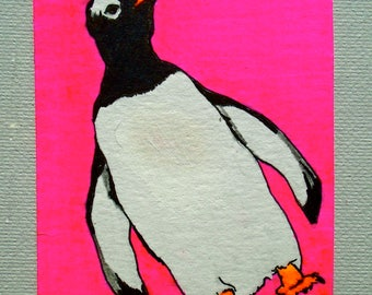 """Waddle I Do With Myself #220 (ARTIST TRADING CARD) 2.5"""" x 3.5""""  by Mike Kraus"""