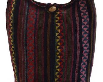 Woven cotton shoulder bag. Messenger,Hippie, Gypsy, Sling,Hippy, Hobo, Crossbody, Monk, Alms, Beach.