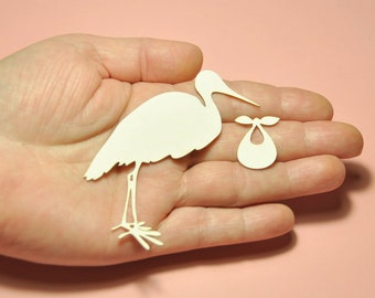 Hello baby chipboard SET OF 3 - Stork with a bundle Die Cut - Stork Shape #1334