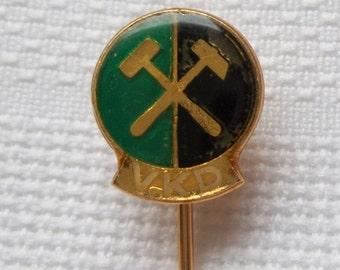 VKD Czechoslovakia pin, VKD pin, Miners Pin, Mining Pin, vintage Mining Pin, vintage Miner's pin