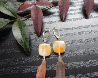 Citrine Stone and Mokume Earrings