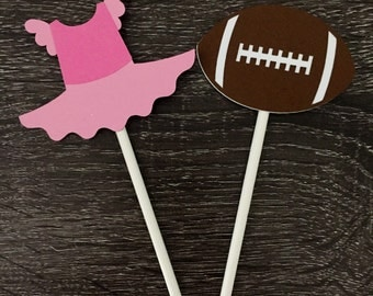 Tutus or Touchdowns Gender Reveal Cupcake Toppers/ gender reveal party/ set of 12