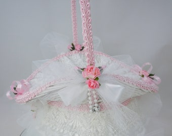 Flower Girl Basket, Card Basket, Decorative Basket, Wedding Basket, Pink Roses, White Lace, Pearls, Tulle, Satin Trim, Ribbons