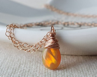 Ethiopian Opal Necklace, Rose Gold Opal Necklace,Vey Small Opal Necklace, Opal Jewelry, Birthstone Necklace, 14k Rose Gold Necklace