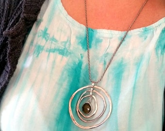 Long silver necklace, sterling silver, statement necklace, chunky necklace, Large silver necklace , handmade necklace, circles necklace