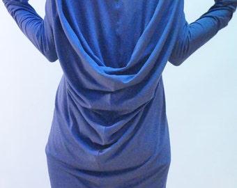 Asymmetrical Maxi Tunic/ Summer Long Top/ Asymmetrical Dress/ Summer Dress/Cotton with Elastane Tunic/ Casual Dress/ F1212