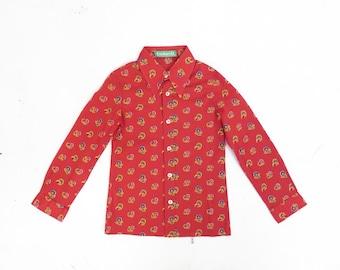 Vintage 70s Boys Cacharel Floral Paisley Print Shirt