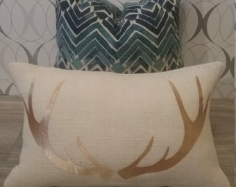 Burlap Antler Modern Farmhouse Pillow - white or natural burlap with gold antlers