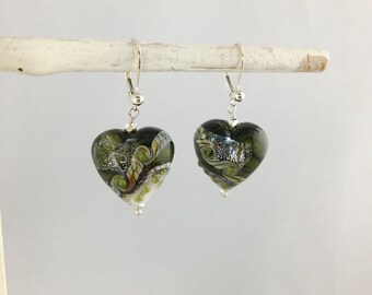 Hand Blown Glass Lamp Work Heart Dangle with 925 Sterling Silver Nuggets Statement Earrings