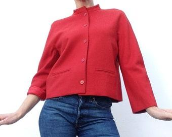 Vintage GUY LAROCHE jacket red virgin wool thin jacket short  straight cut