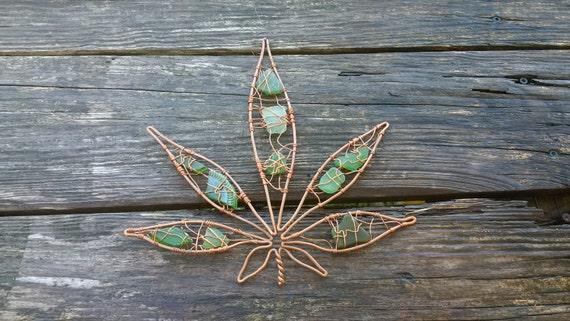 hemp art cannabis leaf marijuana leaf copper wire seaglass #10