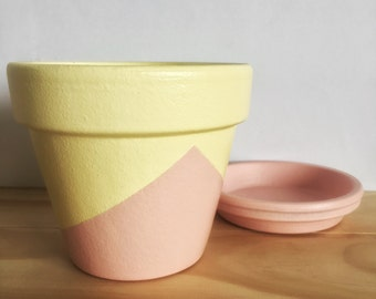 Hand Painted Plant Pot // Pink and Yellow