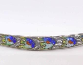 Vintage Art Nouveau Sterling Silver Enamel Swimming Fish Crescent Brooch Pin